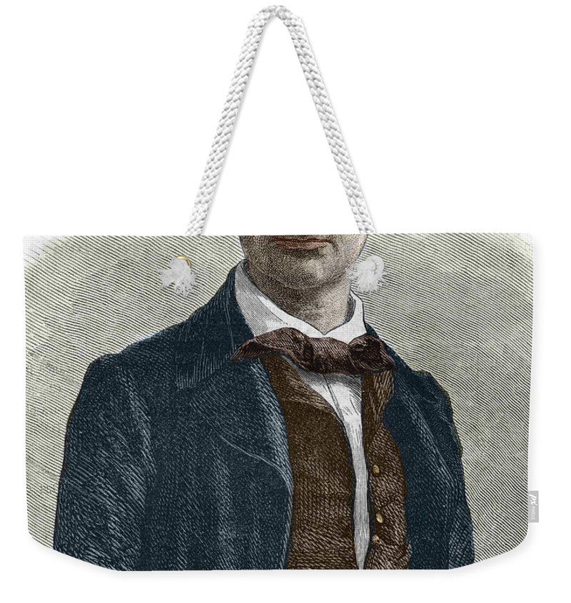 Baudelaire Weekender Tote Bag featuring the drawing Drawing Of Charles Baudelaire by French School