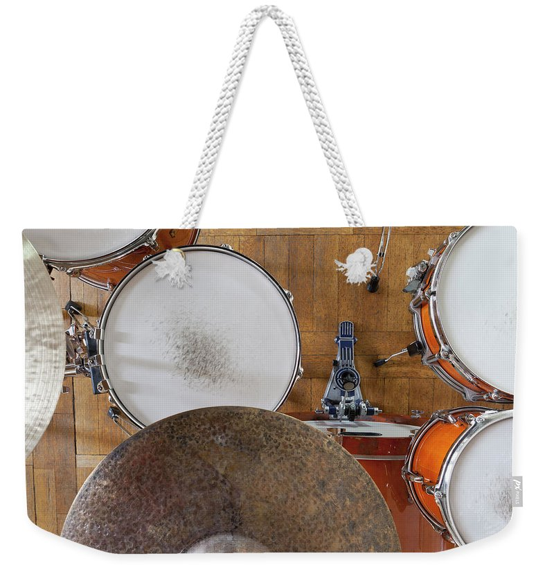 Berlin Weekender Tote Bag featuring the photograph Drum Kit Arrangement by Halfdark