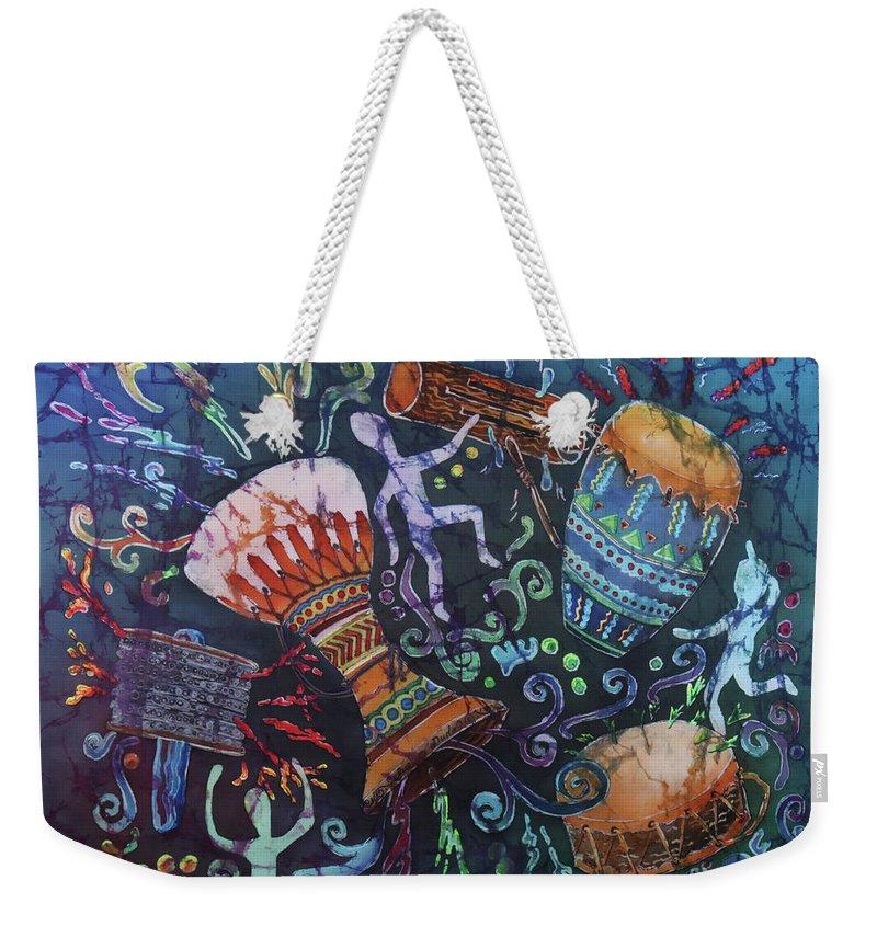 Drums Weekender Tote Bag featuring the painting Drumbeat by Sue Duda