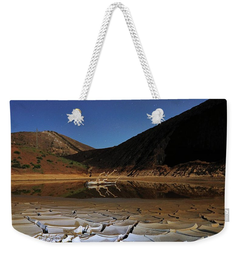 Tranquility Weekender Tote Bag featuring the photograph Dry Landscape With Stars And Mountains by Davidexuvia
