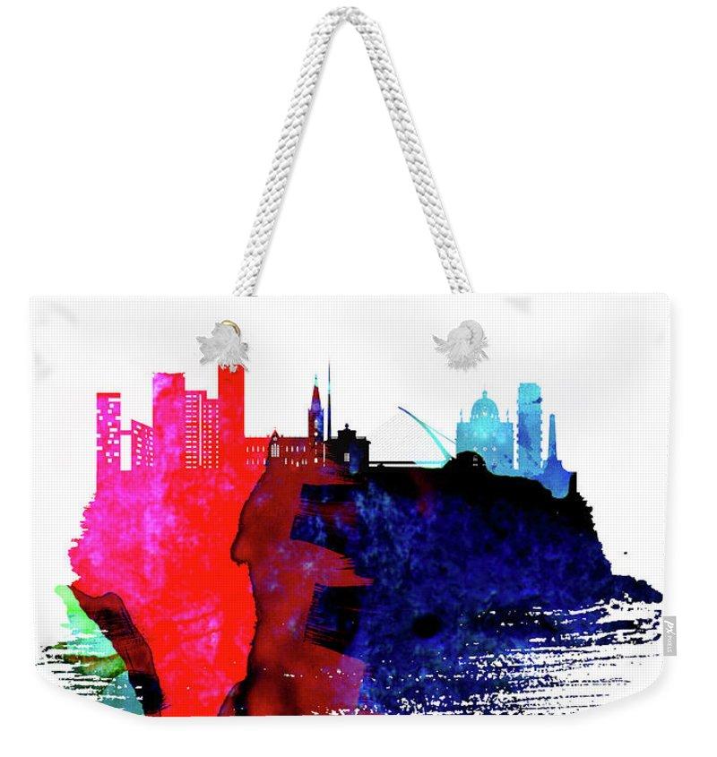 Dublin Weekender Tote Bag featuring the mixed media Dublin Skyline Brush Stroke Watercolor  by Naxart Studio