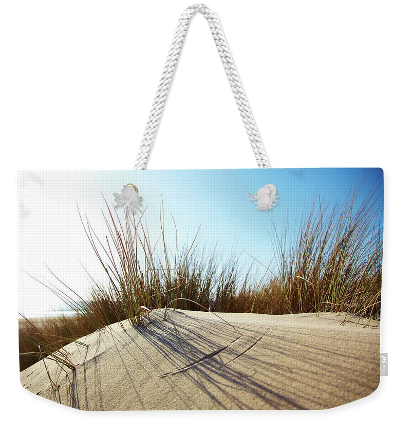 Tranquility Weekender Tote Bag featuring the photograph Dune Grass On A Sand Dune At The Beach by Thomas Northcut