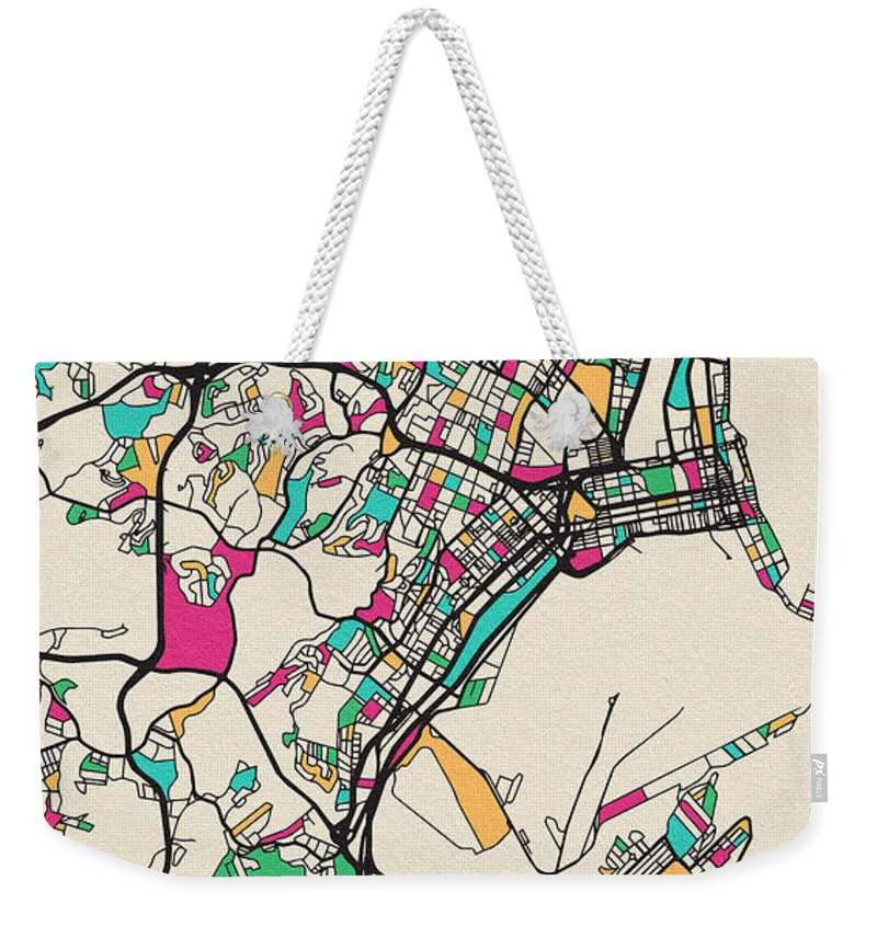 Durban Weekender Tote Bag featuring the drawing Durban, South Africa City Map by Inspirowl Design