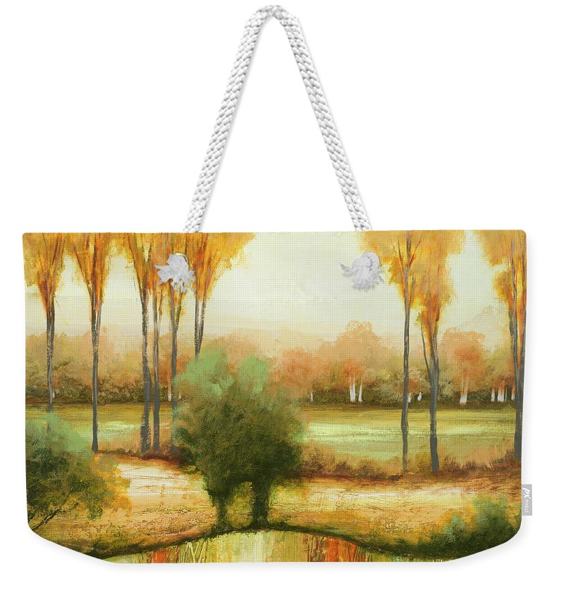 Early Weekender Tote Bag featuring the painting Early Morning Meadow I by Michael Marcon