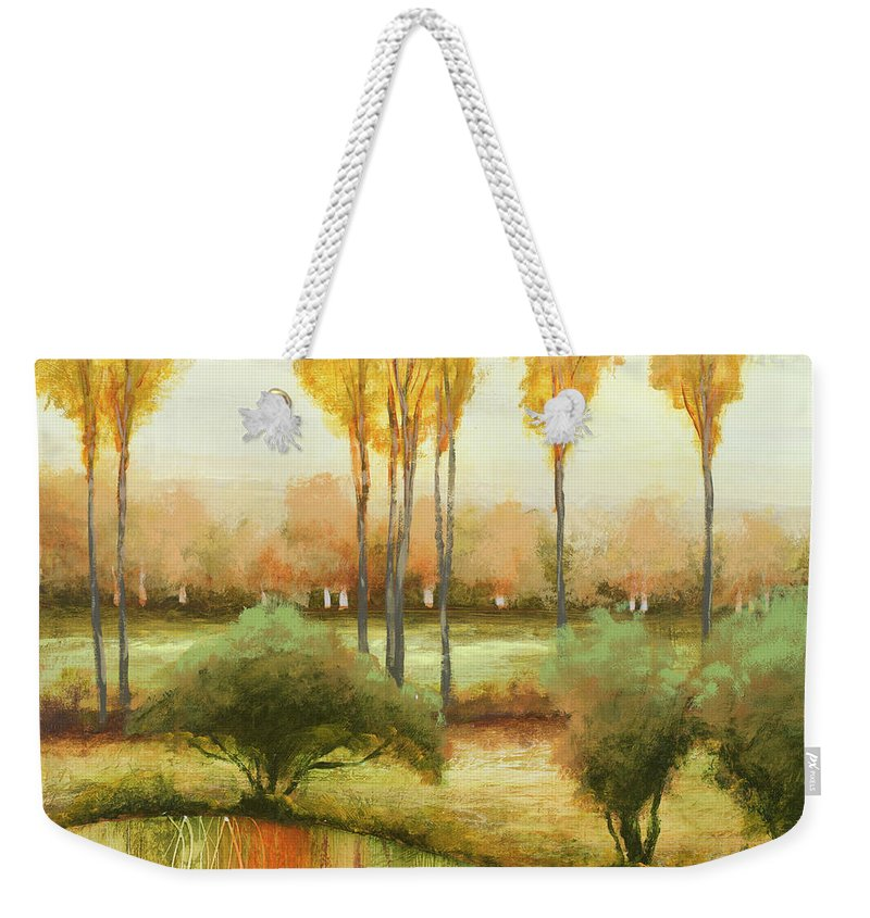 Early Weekender Tote Bag featuring the painting Early Morning Meadow II by Michael Marcon