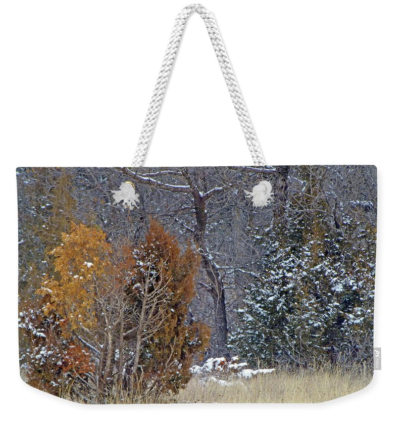 North Dakota Weekender Tote Bag featuring the photograph Early Winter On The Western Edge by Cris Fulton