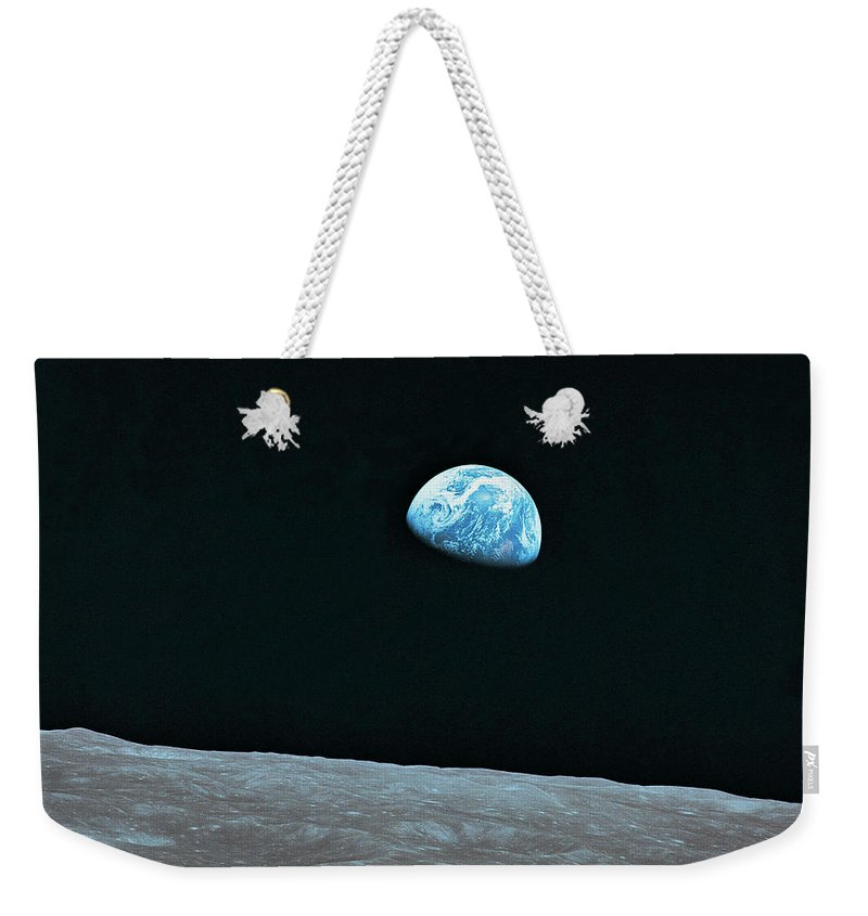 Black Color Weekender Tote Bag featuring the photograph Earth And Lunar Landscape by Digital Vision.