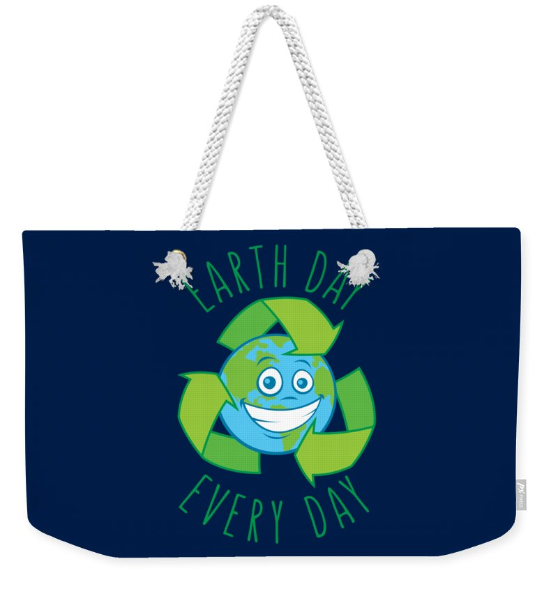 Green Weekender Tote Bag featuring the digital art Earth Day Every Day Recycle Cartoon by John Schwegel