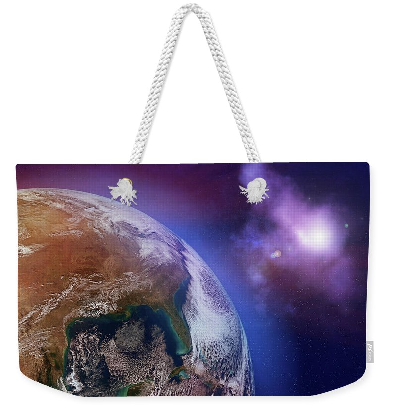 Globe Weekender Tote Bag featuring the photograph Earth With Stars by Dem10