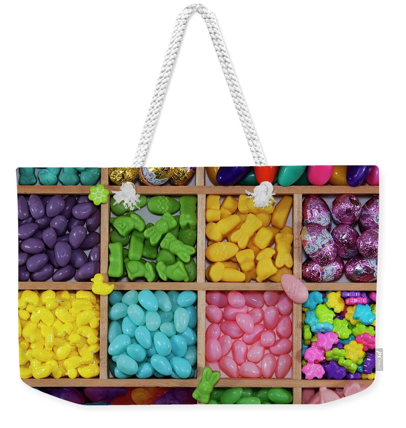 Unhealthy Eating Weekender Tote Bag featuring the photograph Easter Candies by Lisa Stokes