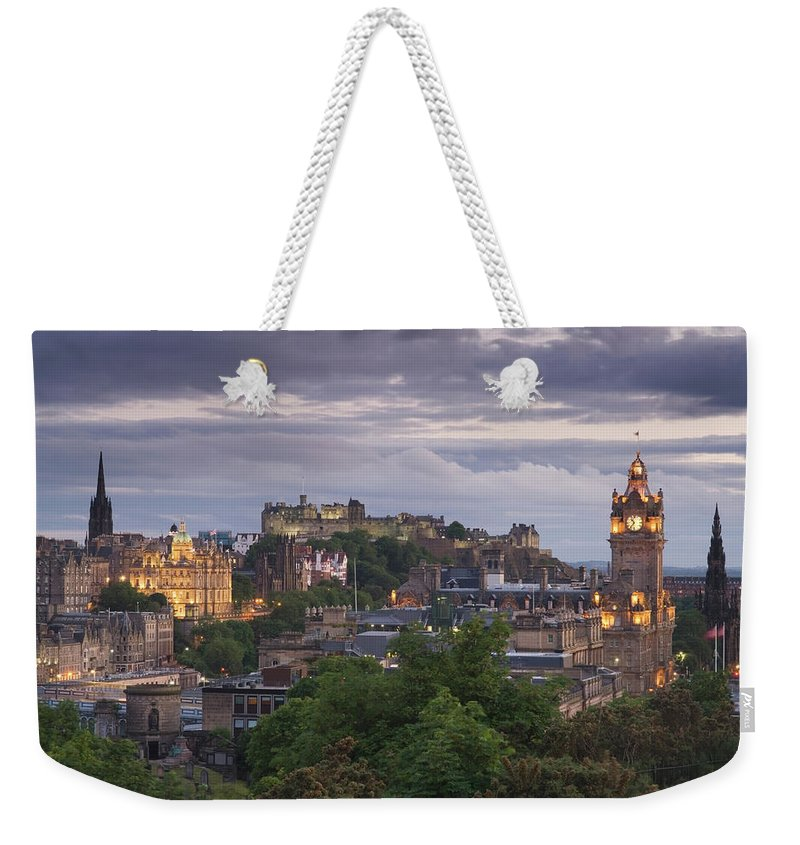 Lothian Weekender Tote Bag featuring the photograph Edinburgh At Dusk by Northlightimages