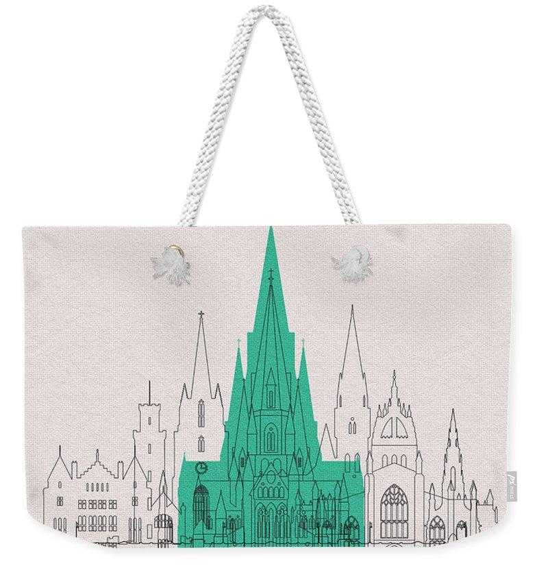 Edinburgh Weekender Tote Bag featuring the digital art Edinburgh Landmarks by Inspirowl Design