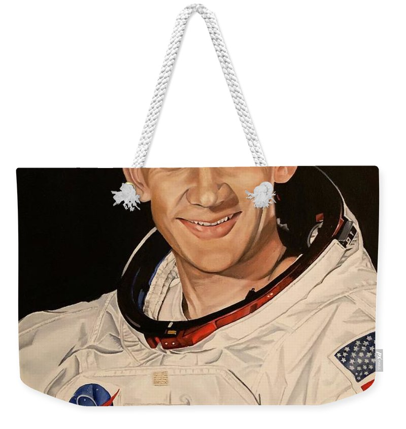 Apollo Weekender Tote Bag featuring the painting Edwin Buzz Aldrin by Brian Broadway
