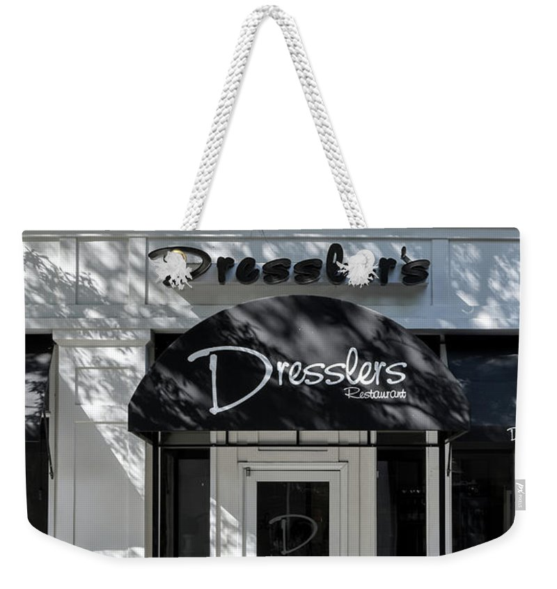 Birkdale Weekender Tote Bag featuring the photograph Elegant Dresslers Restaurant by Amy Dundon