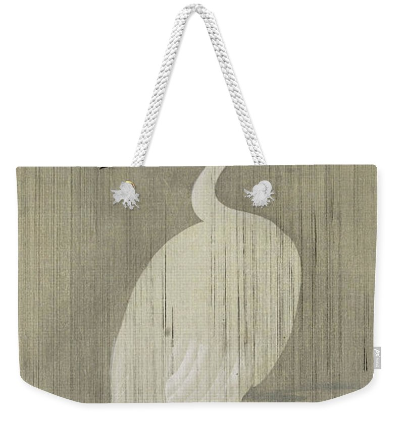 Ohara Koson Weekender Tote Bag featuring the painting Egret In Rain by Ohara Koson