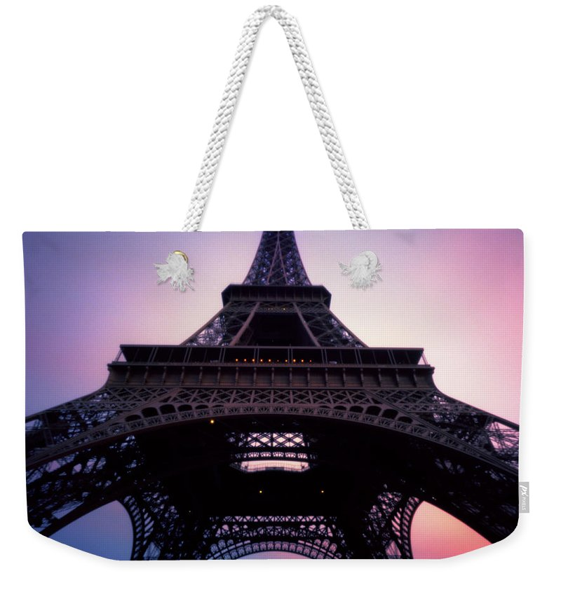 Arch Weekender Tote Bag featuring the photograph Eiffel Tower At Sunset by Zeb Andrews