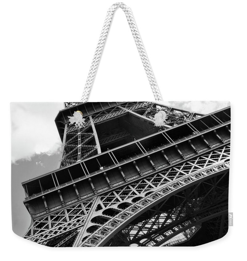 Black Color Weekender Tote Bag featuring the photograph Eiffel Tower In Black And White by Sarah8000