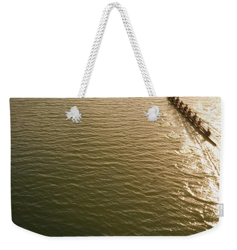 Sport Rowing Weekender Tote Bag featuring the photograph Eight Person Rowing Team In Shell With by David Madison