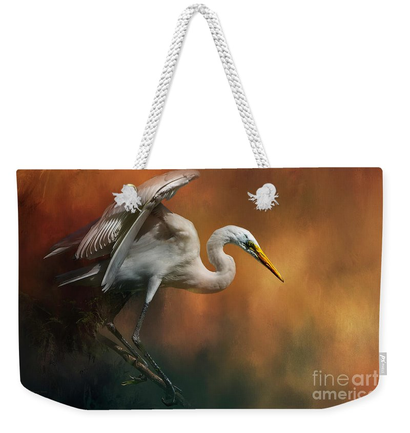 Bird Weekender Tote Bag featuring the mixed media Elegance by Marvin Spates