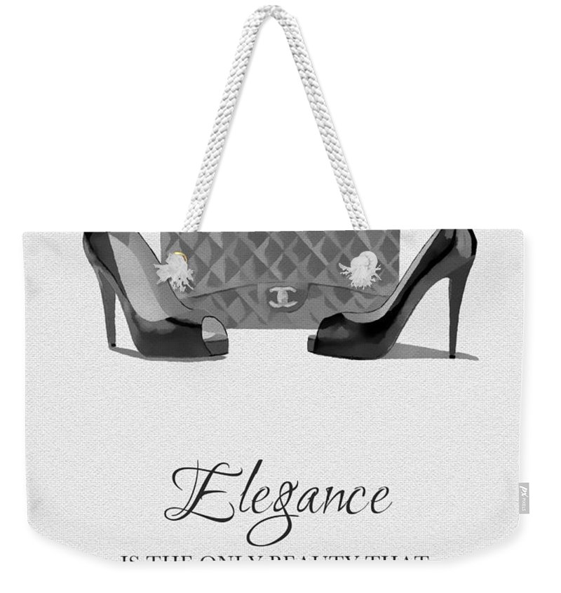 Fashion Weekender Tote Bag featuring the mixed media Elegance Never Fades Black And White by My Inspiration