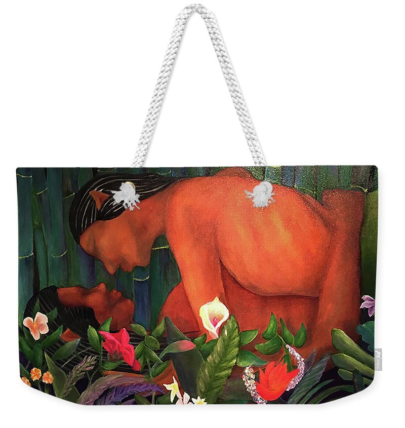 Lovers Weekender Tote Bag featuring the painting Elves In Love by Larry Rice