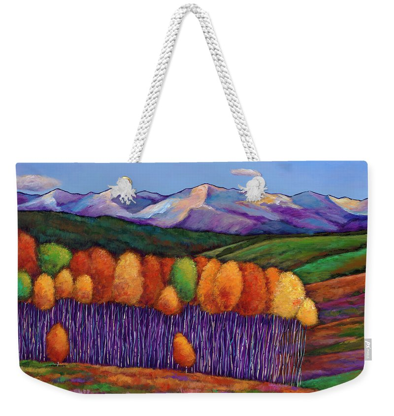 Aspen Trees Weekender Tote Bag featuring the painting Elysian by Johnathan Harris