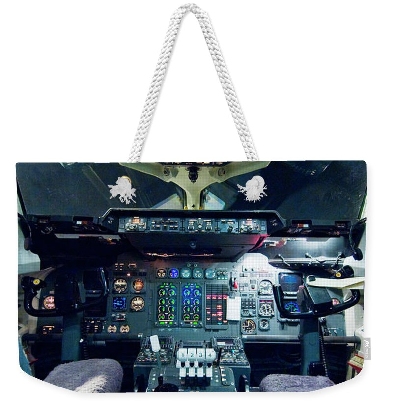 Cockpit Weekender Tote Bag featuring the photograph Empty Aeroplane Cockpit by Moodboard