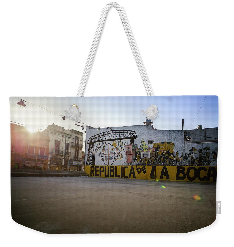Empty Weekender Tote Bag featuring the photograph Empty Soccer Field In La Boca by Just One Film