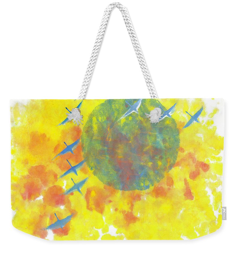 A Journey Through Time Depicted With Watercolor On Rice Paper By Mui-joo Wee In Simple Contemporary Brush Strokes Weekender Tote Bag featuring the painting An Enduring Journey II by Mui-Joo Wee