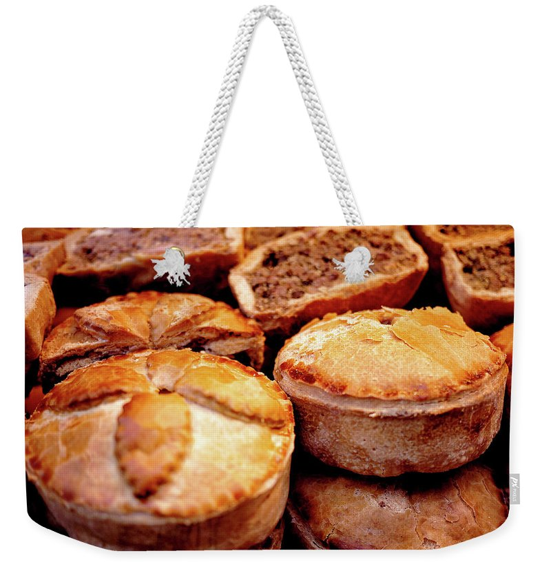 Meat Pie Weekender Tote Bag featuring the photograph English Meat Pies by Louise Legresley