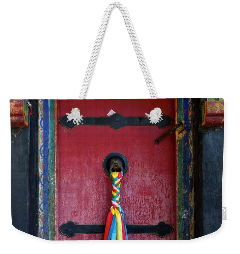 Chinese Culture Weekender Tote Bag featuring the photograph Entrance To The Tibetan Monastery by Hanhanpeggy