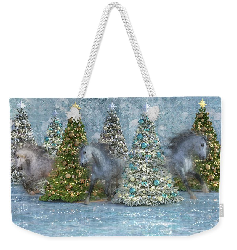 Christmas Weekender Tote Bag featuring the digital art Equine Holiday Spirits by Betsy Knapp