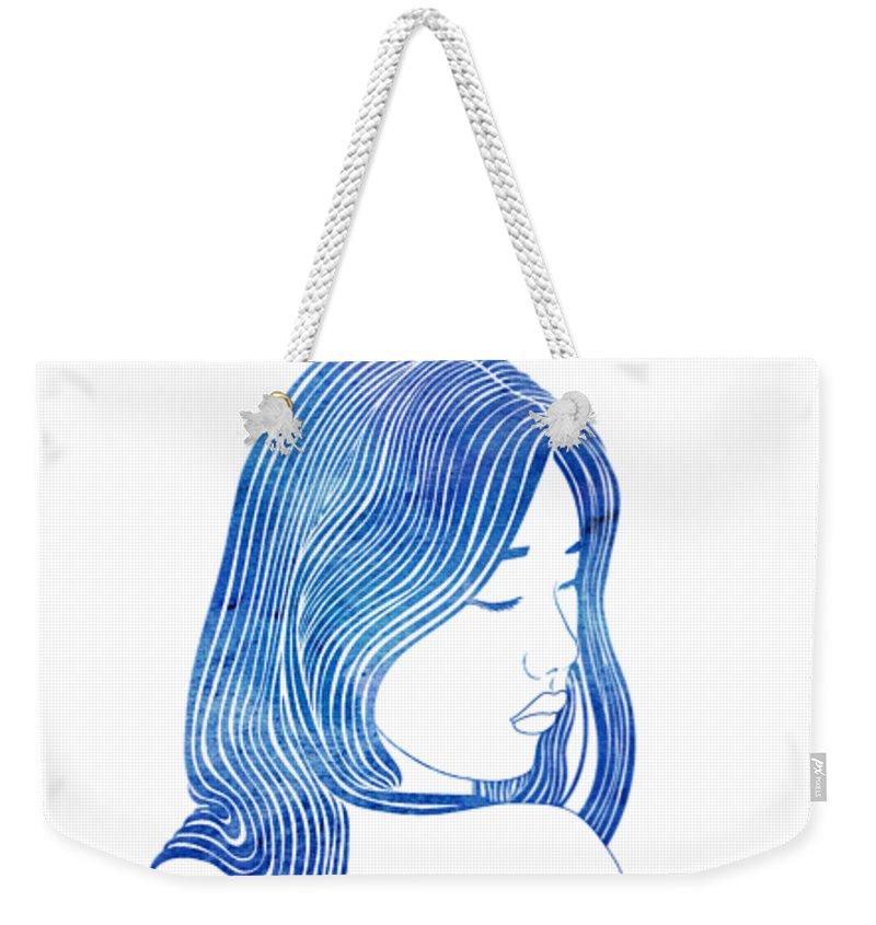 Aqua Weekender Tote Bag featuring the mixed media Euagore by Stevyn Llewellyn