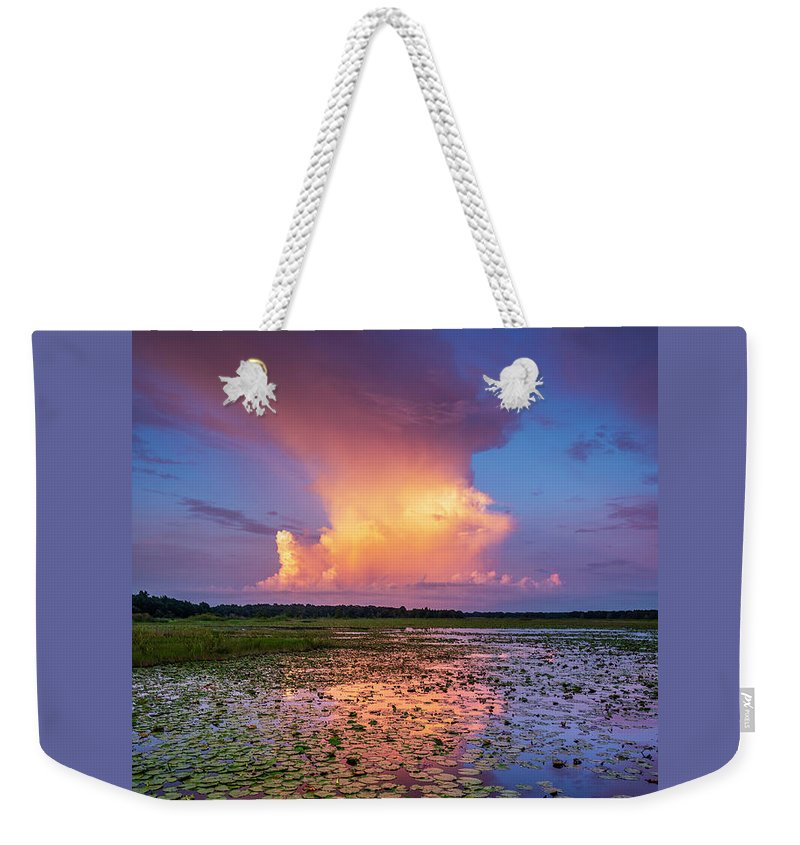 Water Weekender Tote Bag featuring the photograph Evening Shower by Marvin Spates