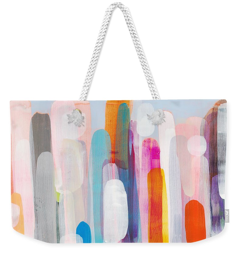 Abstract Weekender Tote Bag featuring the painting Everyone's Invited by Claire Desjardins