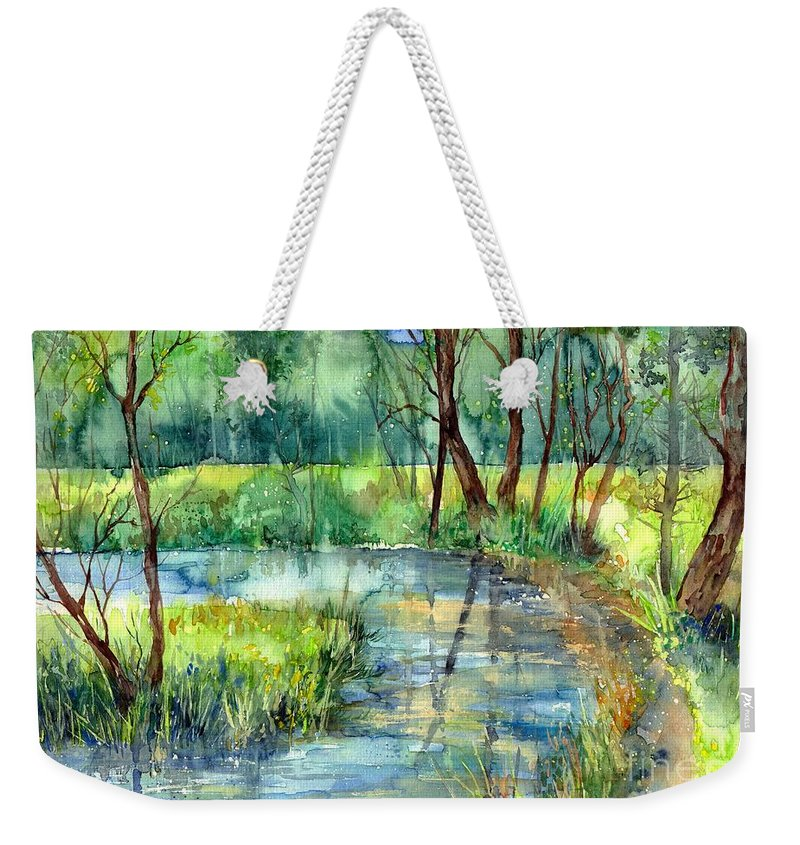 Eye In The Sky Weekender Tote Bag featuring the painting Eye In The Sky by Suzann Sines