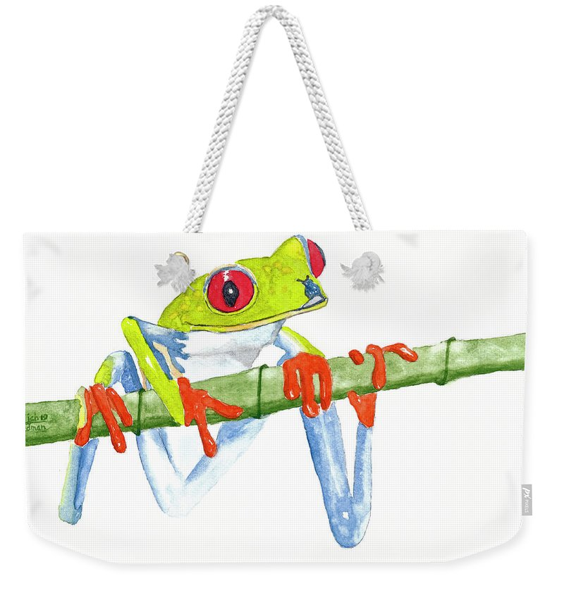 Frog Weekender Tote Bag featuring the painting Fabio T Frog by Rich Stedman