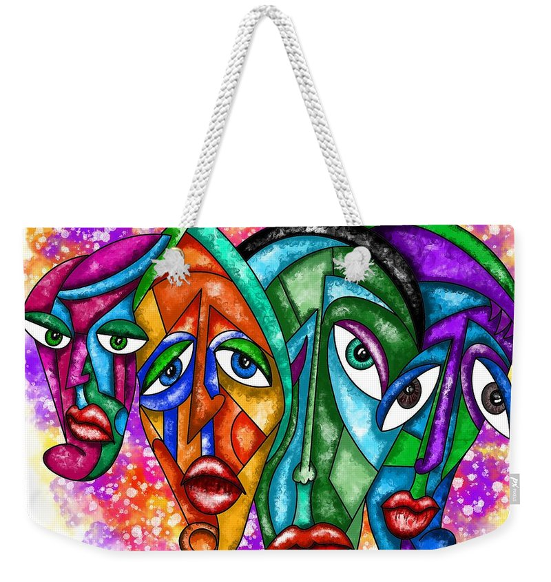 Faces Weekender Tote Bag featuring the painting Faces - Abstract Painting by Patricia Piotrak