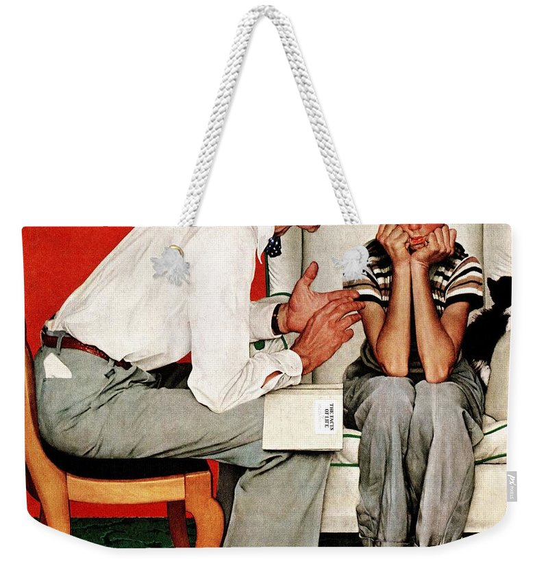 Boy Weekender Tote Bag featuring the drawing Facts Of Life by Norman Rockwell