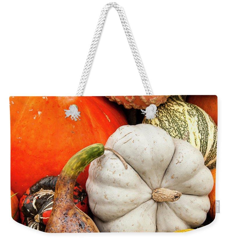 Season Weekender Tote Bag featuring the photograph Fall Season Squash And Pumpkins by M Timothy O'keefe