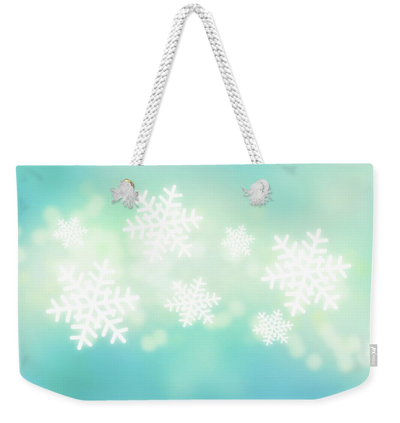 Celebration Weekender Tote Bag featuring the digital art Falling Snowflakes by Nicholas Monu