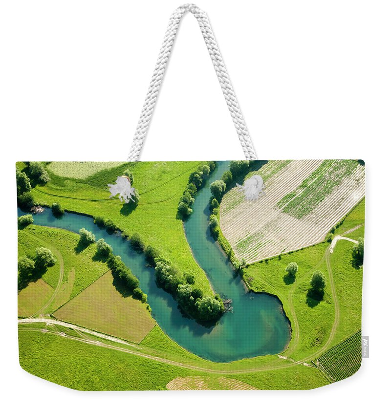 Scenics Weekender Tote Bag featuring the photograph Farmland Patchwork, Aerial View by Vpopovic