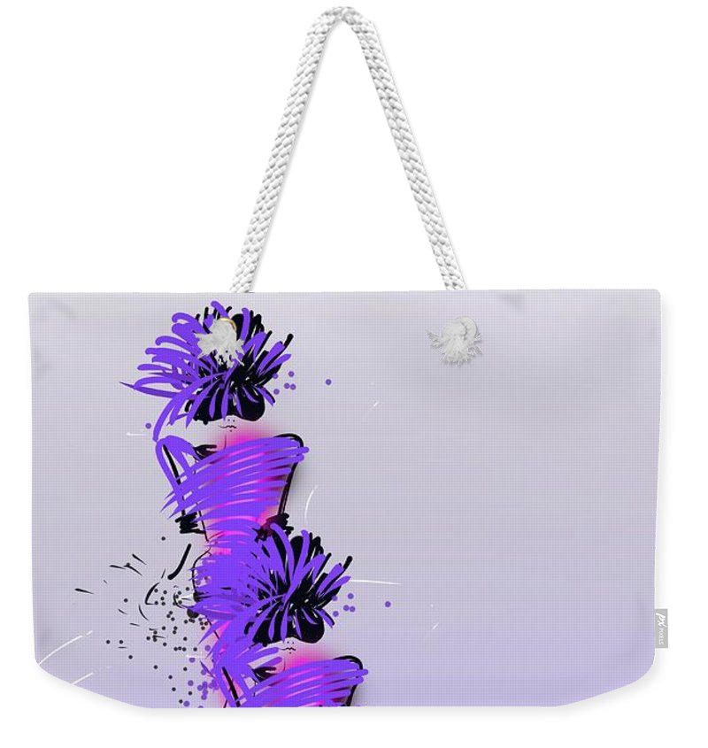 Fashion Design Weekender Tote Bag featuring the digital art Fashion Models Looking Chic In Violet With A Touch Of Pink by Peta Brown