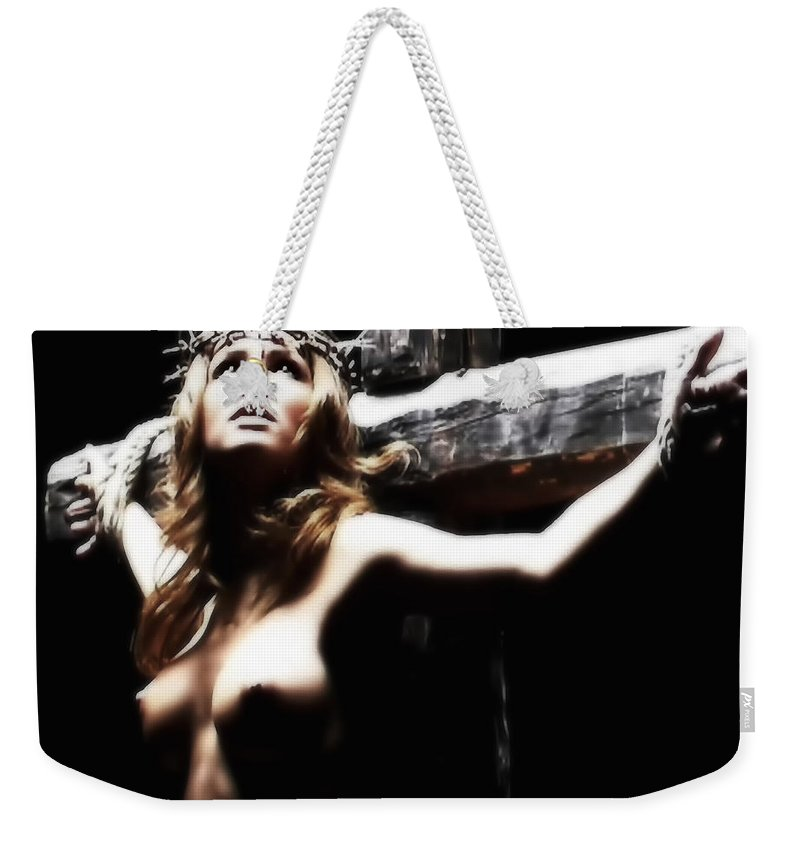 Female Christ Weekender Tote Bag featuring the photograph Female Christ by Ramon Martinez