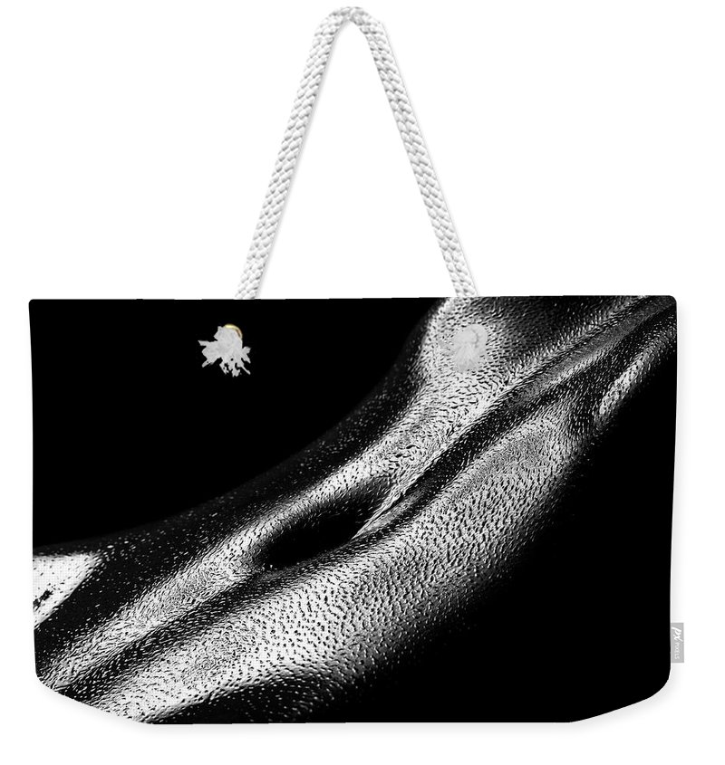 Woman Weekender Tote Bag featuring the photograph Female Oily Stomach Close-up by Johan Swanepoel