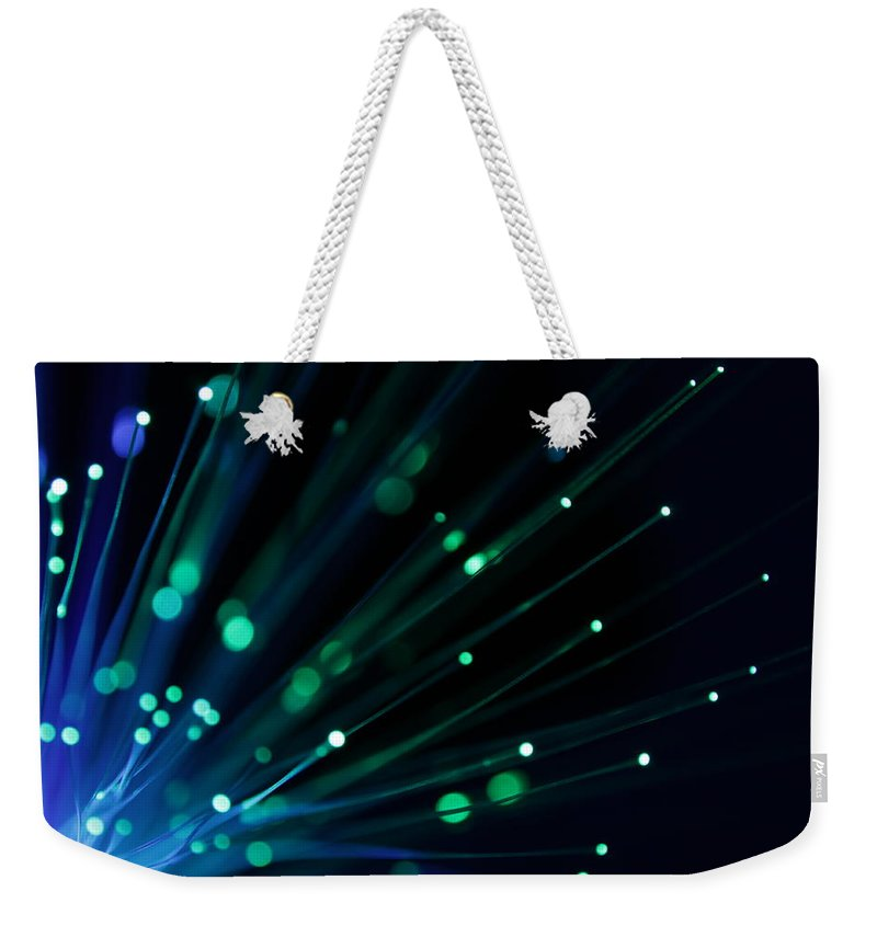 Internet Weekender Tote Bag featuring the photograph Fiber Optics - Xlarg by Pictafolio