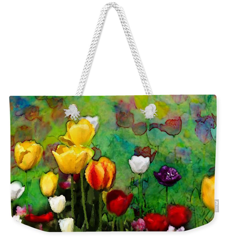 Tulips Weekender Tote Bag featuring the photograph Field Of Tulips by Jas Stem