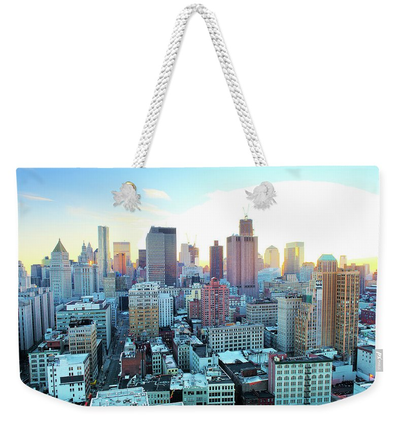 Tranquility Weekender Tote Bag featuring the photograph Financial District by Tony Shi Photography