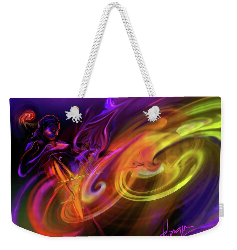 Fiona Weekender Tote Bag featuring the painting Cellist In Space by DC Langer
