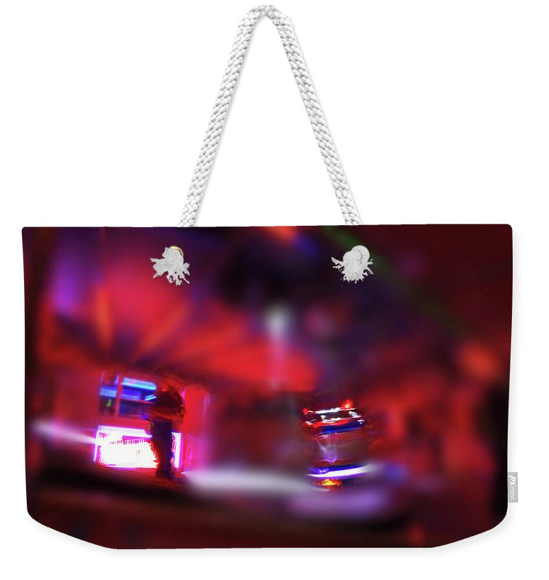 Red Weekender Tote Bag featuring the painting Fire Ride by Charles Stuart